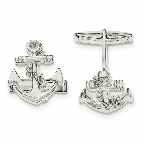 Sterling Silver Anchor With Dangle Rope Cuff Links Qq560