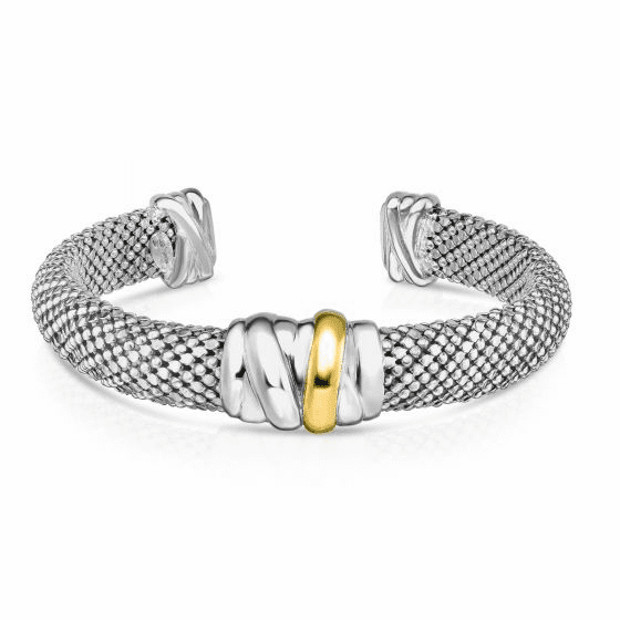 Sterling Silver and 18k Gold Bold Tally wrap Popcorn Mesh Cuff Bangle