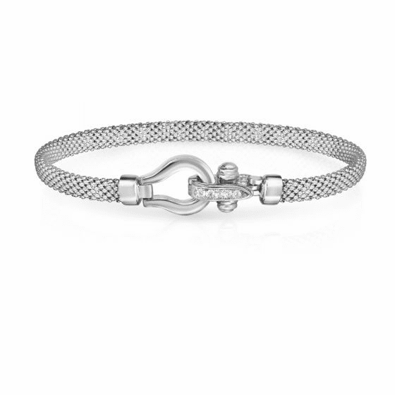 Sterling Silver and 18k Gold Horsebit Bracelet with .05ct Diamond