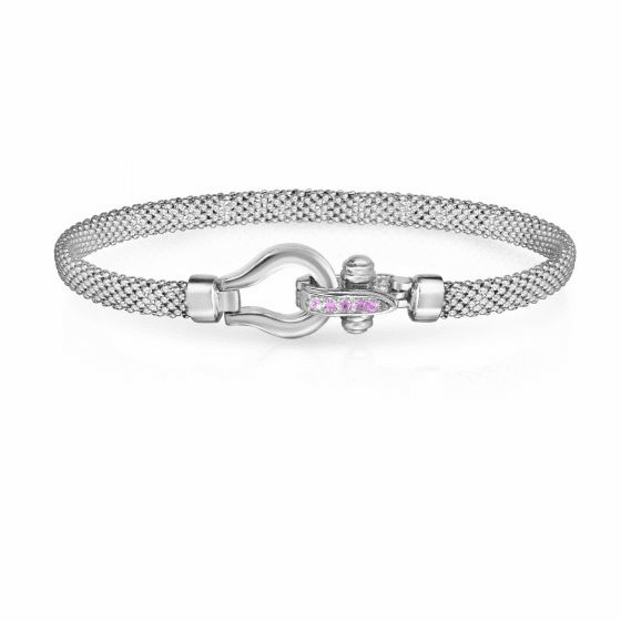 Sterling Silver and 18k Gold Horsebit Bracelet with Pink Sapphire