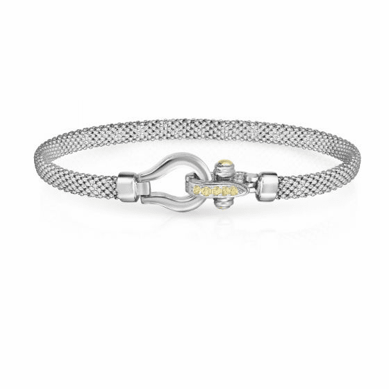 Sterling Silver and 18k Gold Horsebit Bracelet with Yellow Sapphire