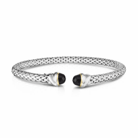 Sterling Silver and 18k Gold Popcorn Cuff Bangle with Black Onyx