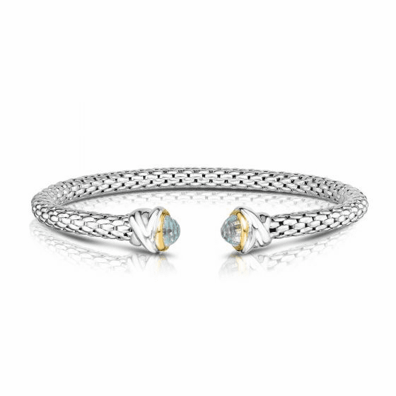 Sterling Silver and 18k Gold Popcorn Cuff Bangle with Blue Topaz