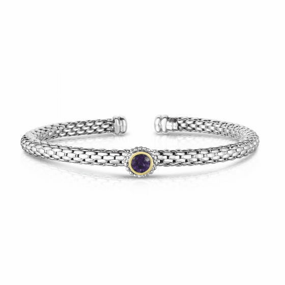 Sterling Silver and 18k Gold Popcorn Cuff Bangle with Round Amethyst