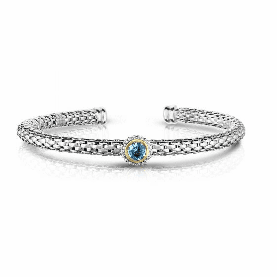 Sterling Silver and 18k Gold Popcorn Cuff Bangle with Round Blue Topaz
