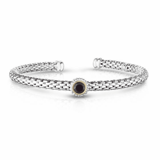 Sterling Silver and 18k Gold Popcorn Cuff Bangle with Round Garnet
