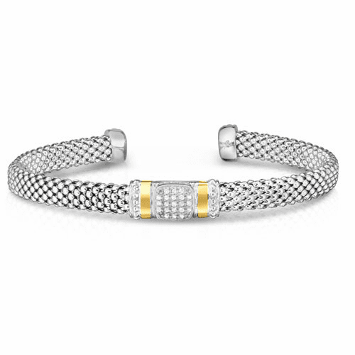 Sterling Silver and 18k Gold Popcorn Cuff with .10ct Diamonds