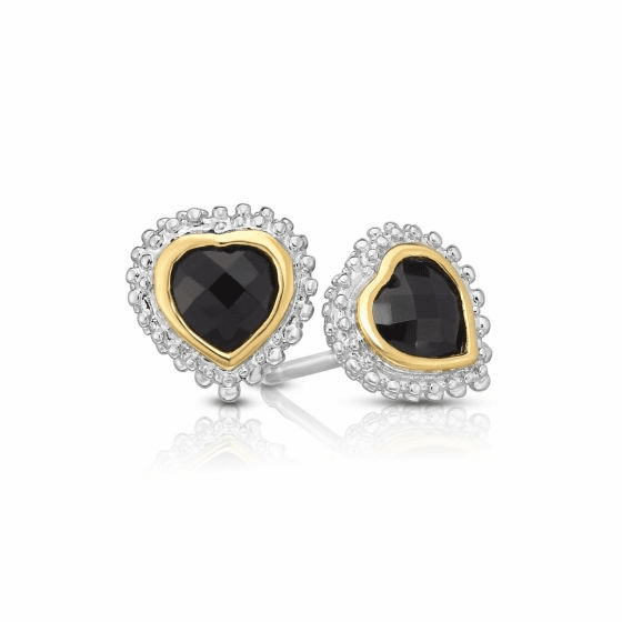 Sterling Silver and 18k Gold Popcorn Heart Earrings with Black Onyx