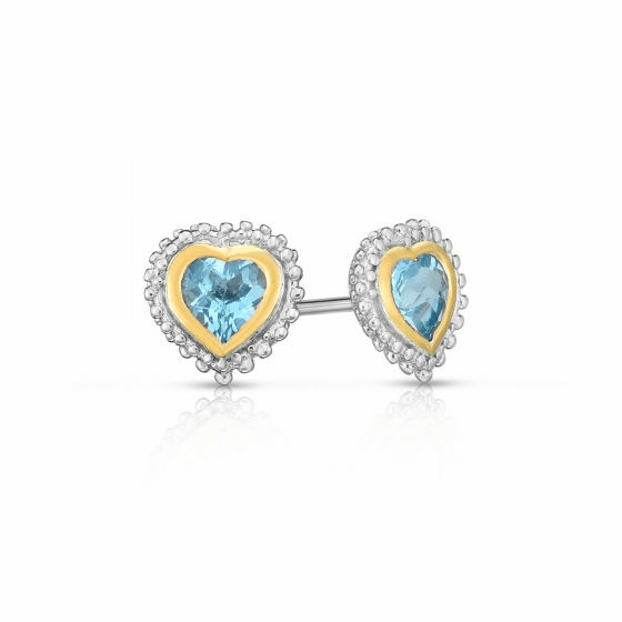 Sterling Silver and 18k Gold Popcorn Heart Earrings with Blue Topaz