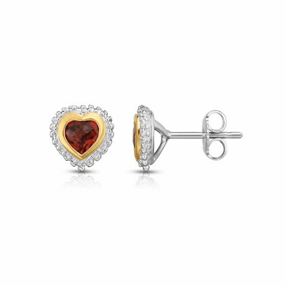 Sterling Silver and 18k Gold Popcorn Heart Earrings with Garnet