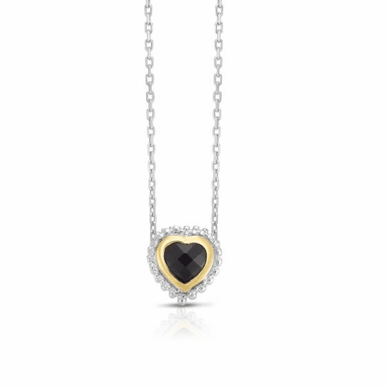 Sterling Silver and 18k Gold Popcorn Heart Pendant with Black Onyx