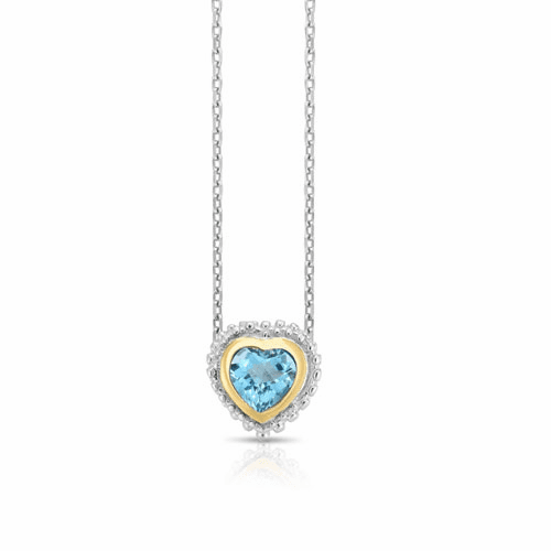 Sterling Silver and 18k Gold Popcorn Heart Pendant with Blue Topaz