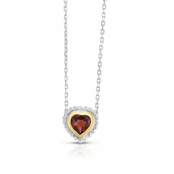 Sterling Silver and 18k Gold Popcorn Heart Pendant with Garnet
