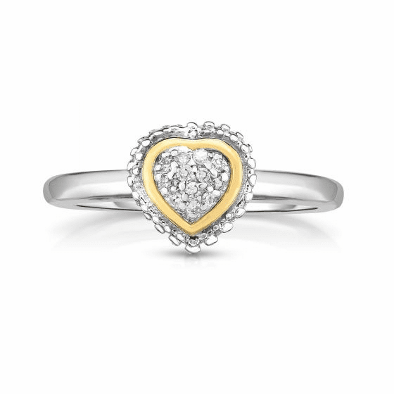 Sterling Silver and 18k Gold Popcorn Heart Ring with .06ct Diamonds