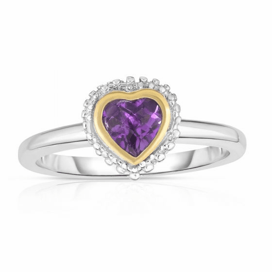 Sterling Silver and 18k Gold Popcorn Heart Ring with Amethyst.