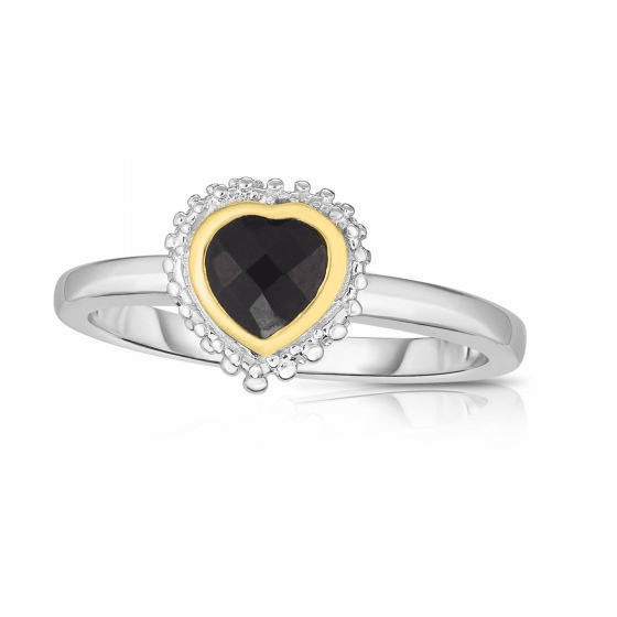 Sterling Silver and 18k Gold Popcorn Heart Ring with Black Onyx.