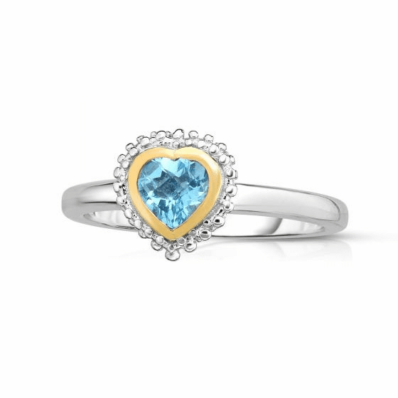 Sterling Silver and 18k Gold Popcorn Heart Ring with Blue Topaz.