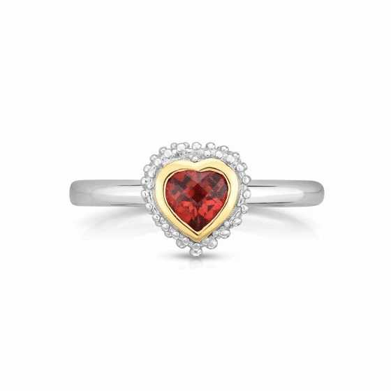 Sterling Silver and 18k Gold Popcorn Heart Ring with Garnet.