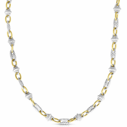 Sterling Silver and 18k Gold Victorian Link Necklace
