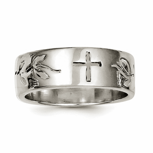 Sterling Silver Antique Cross Design Ring Qr2466-9