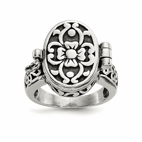 Sterling Silver Antique Locket Ring Qr1763-7