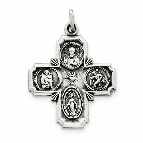 Sterling Silver Antiqued 4-way Medal Qc3468