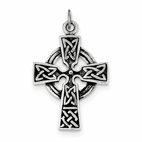 Sterling Silver Antiqued Celtic Cross Charm Qc3369