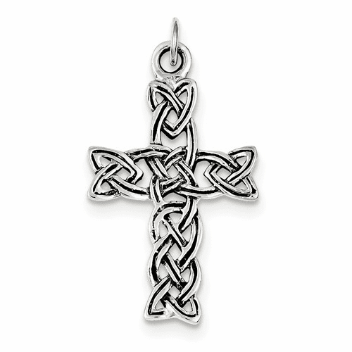 Sterling Silver Antiqued Celtic Cross Pendant Qc3277