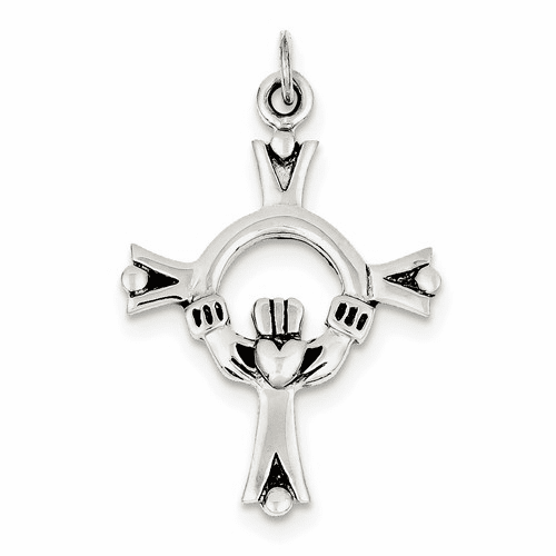 Sterling Silver Antiqued Claddagh Cross Charm Qc3378