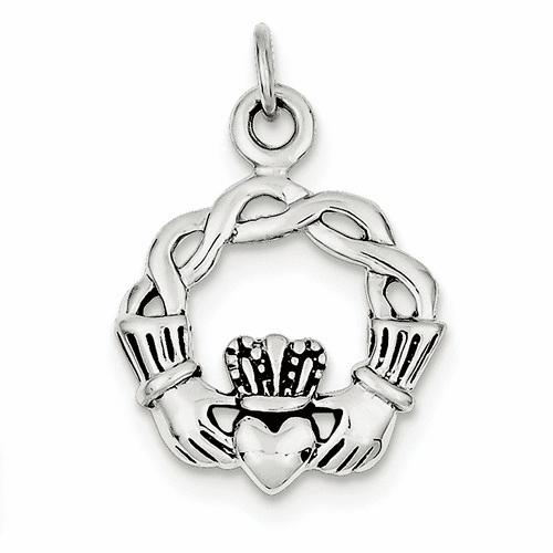 Sterling Silver Antiqued Claddagh Pendant Qc3874