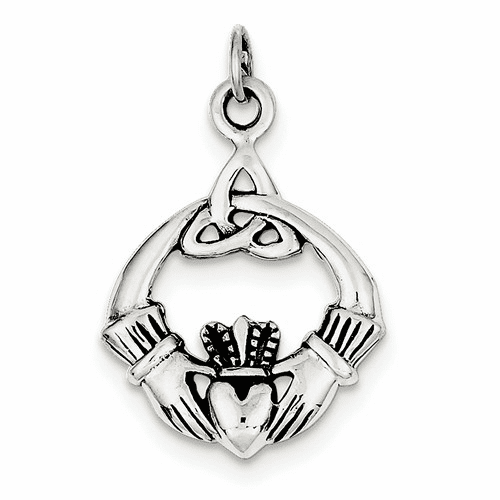Sterling Silver Antiqued Claddagh Pendant Qc3875