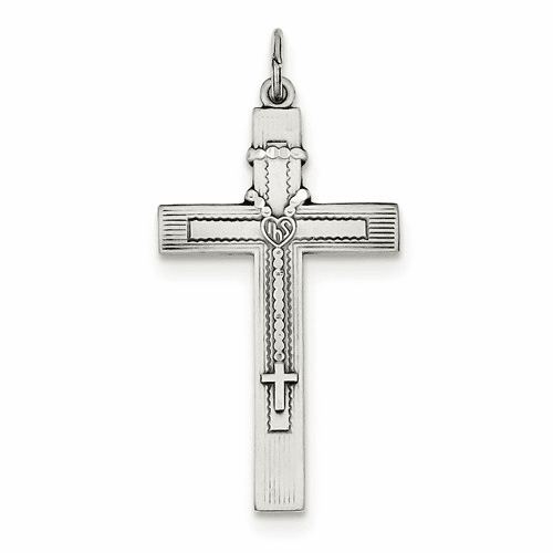 Sterling Silver Antiqued Rosary Cross Pendant Qc5856