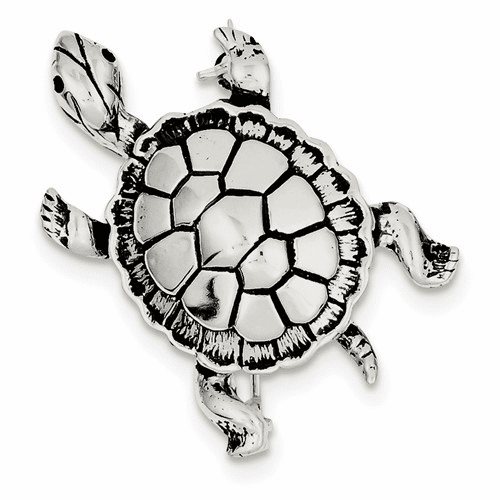 Sterling Silver Antiqued Turtle Pin Qp464