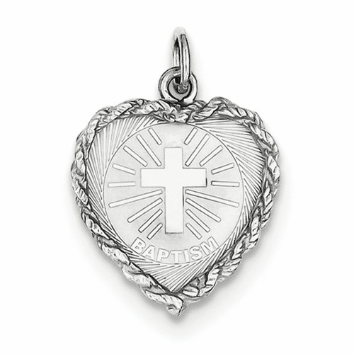 Sterling Silver Baptism Disc Charm Qc2384