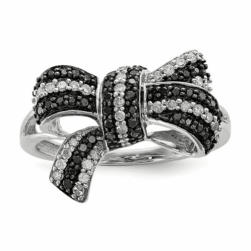 Sterling Silver Black And White Diamond Bow Ring Qr3233-7