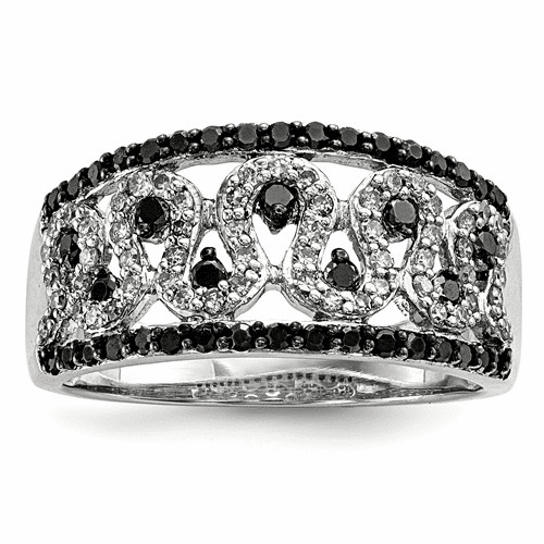 Sterling Silver Black And White Diamond Cigar Band Qr3307-6