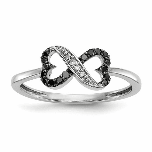 Sterling Silver Black And White Diamond Double Heart Ring Qr5350-7