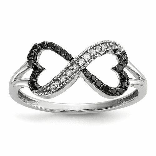 Sterling Silver Black And White Diamond Double Heart Ring Qr5352-7