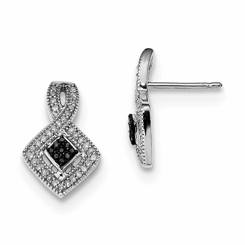 Sterling Silver Black And White Diamond Earrings Qe10870