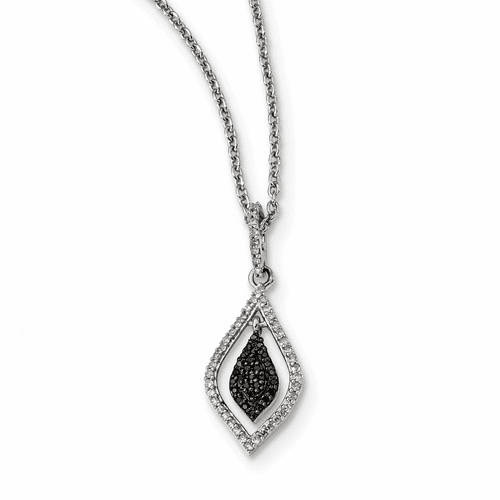 Sterling Silver Black And White Diamond Fashion Pendant Qp3839
