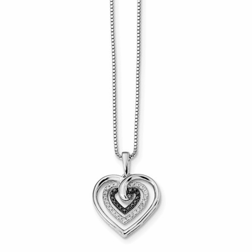 Sterling Silver Black And White Diamond Heart Pendant Necklace Qp2309