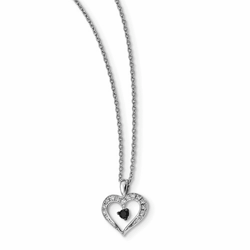 Sterling Silver Black And White Diamond Heart Pendant Necklace Qp2336