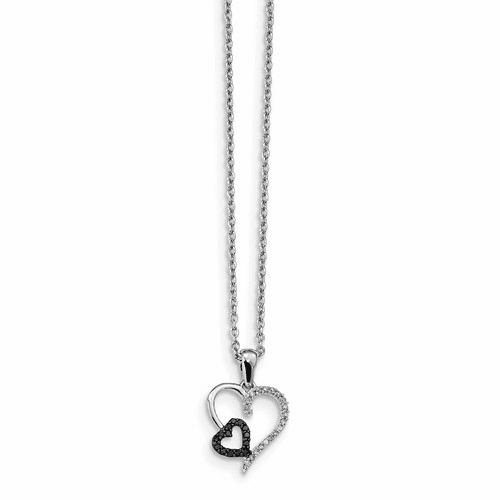 Sterling Silver Black And White Diamond Heart Pendant Qp2304