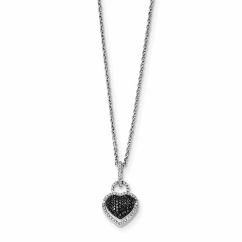 Sterling Silver Black And White Diamond Heart Pendant Qp3744