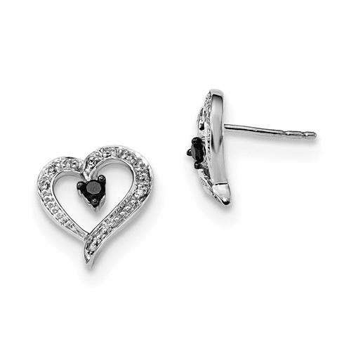 Sterling Silver Black And White Diamond Heart Post Earrings Qe7872