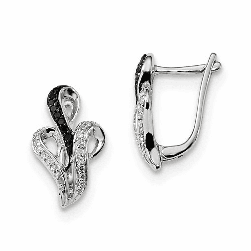 Sterling Silver Black And White Diamond Hinged Post Earrings Qe7831