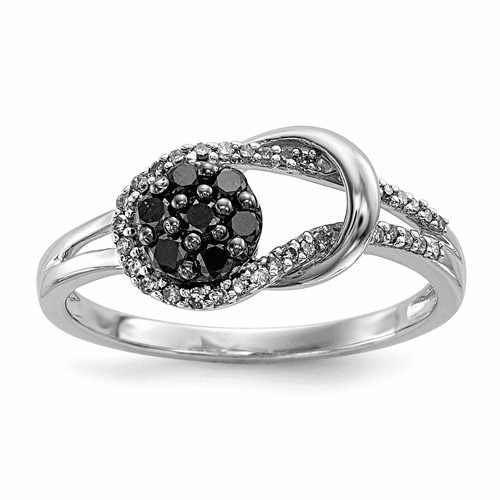 Sterling Silver Black And White Diamond Love Knot Ring Qr3298-7