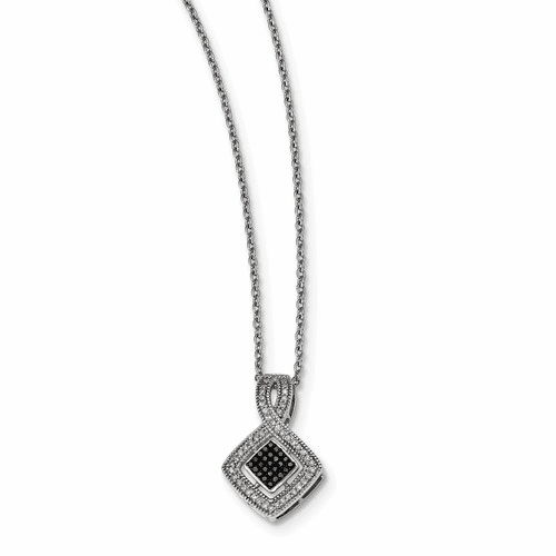 Sterling Silver Black And White Diamond Pendant Qp3802