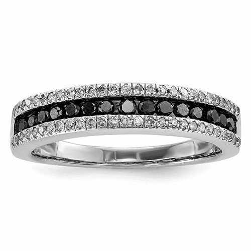 Sterling Silver Black And White Diamond Ring Qr3252-6