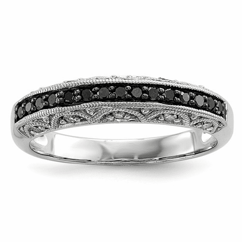 Sterling Silver Black And White Diamond Ring Qr3296-7